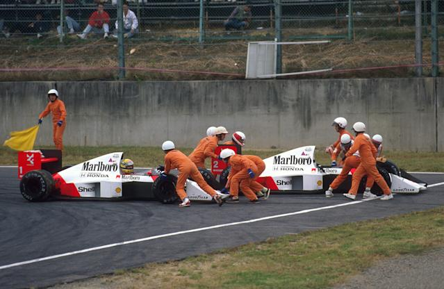 Driving like champs or chumps? Alain Prost and Ayrton Senna have a McLaren-on-McLaren moment at Suzuka during the 1989 Japanese Grand Prix