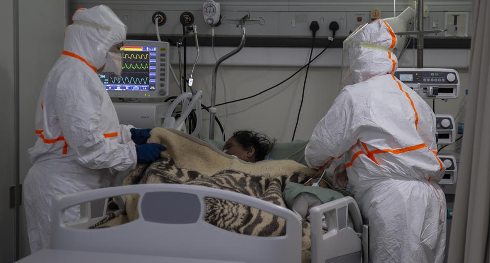 Medical staff with a patient in a hospital in Lebanon. Source: AP