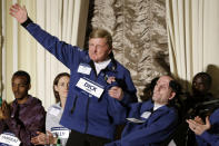 FILE - In this April 13, 2018, file photo, Dick Hoyt, left, and his son Rick, who competed together in 32 Boston Marathons, are introduced at a news conference in Boston before the 122nd running of the Boston Marathon in Boston. Dick Hoyt, who last competed with his son in the Boston Marathon in 2014, has died, the Boston Athletic Association announced Wednesday, March 17, 2021. He was 80. (AP Photo/Elise Amendola, File)