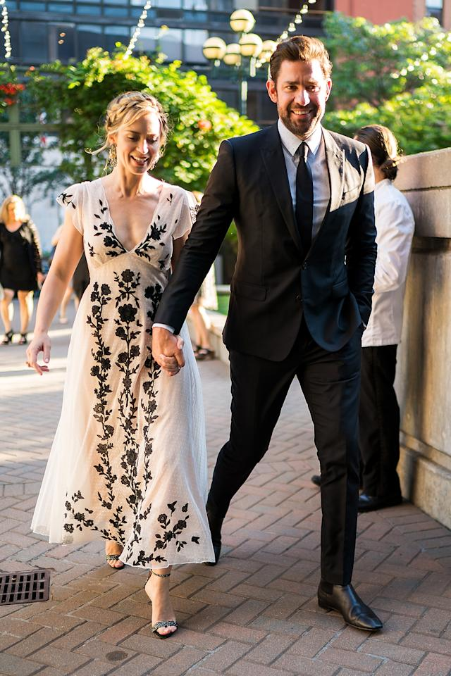 <p>Emily Blunt and John Krasinski attended the American Institute for Stuttering gala in NYC looking picture perfect next to one another. Emily stunned in a Dior tulle floral embroidered dress, while John looked smart in a tailored suit. <em>[Photo: Getty]</em> </p>