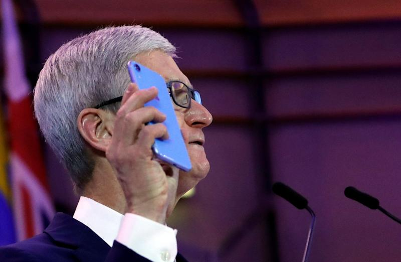Apple CEO Tim Cook delivers a keynote during the European Union's privacy conference at the EU Parliament in Brussels, Belgium October 24, 2018. REUTERS/Yves Herman
