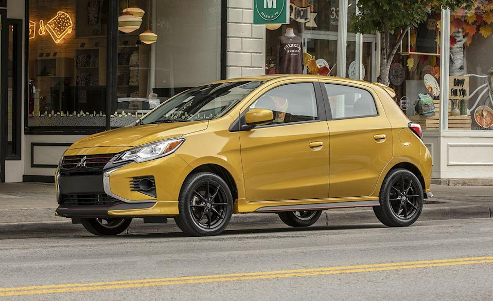"""<p>Need a new car for cheap? The <a href=""""https://www.caranddriver.com/mitsubishi/mirage"""" rel=""""nofollow noopener"""" target=""""_blank"""" data-ylk=""""slk:Mitsubishi"""" class=""""link rapid-noclick-resp"""">Mitsubishi</a> Mirage has you covered. It's the <a href=""""https://www.caranddriver.com/features/g34908888/10-cheapest-new-cars-for-2021/"""" rel=""""nofollow noopener"""" target=""""_blank"""" data-ylk=""""slk:second-cheapest car sold in the U.S. today"""" class=""""link rapid-noclick-resp"""">second-cheapest car sold in the U.S. today</a>, and although it has almost no horsepower, it's the most fuel-efficient nonhybrid car available. Powered by a tiny 1.2-liter 78-hp three-cylinder, the Mirage makes a big stand for fuel efficiency. With an EPA-rated 39 mpg combined for the CVT-equipped hatchback version, this is certainly a case of David versus the gas station. The sedan version, known as the <a href=""""https://www.caranddriver.com/mitsubishi/mirage-g4"""" rel=""""nofollow noopener"""" target=""""_blank"""" data-ylk=""""slk:Mirage G4"""" class=""""link rapid-noclick-resp"""">Mirage G4</a>, is barely less efficient at 35 mpg. Of course it won't be getting you anywhere very fast, as the <a href=""""https://www.caranddriver.com/reviews/a15100550/2017-mitsubishi-mirage-g4-automatic-sedan-test-review/"""" rel=""""nofollow noopener"""" target=""""_blank"""" data-ylk=""""slk:2017 Mirage G4 with a CVT we tested in 2018"""" class=""""link rapid-noclick-resp"""">2017 Mirage G4 with a CVT we tested in 2018</a> achieved a zero to 60 mph in a patient 12.8 seconds.</p><ul><li>Base Price: $15,565</li><li>Fuel Economy EPA combined/city/highway: 39/36/43 mpg</li><li>Horsepower: 78 hp</li></ul><p><a class=""""link rapid-noclick-resp"""" href=""""https://www.caranddriver.com/mitsubishi/mirage/specs"""" rel=""""nofollow noopener"""" target=""""_blank"""" data-ylk=""""slk:MORE MIRAGE SPECS"""">MORE MIRAGE SPECS</a></p>"""