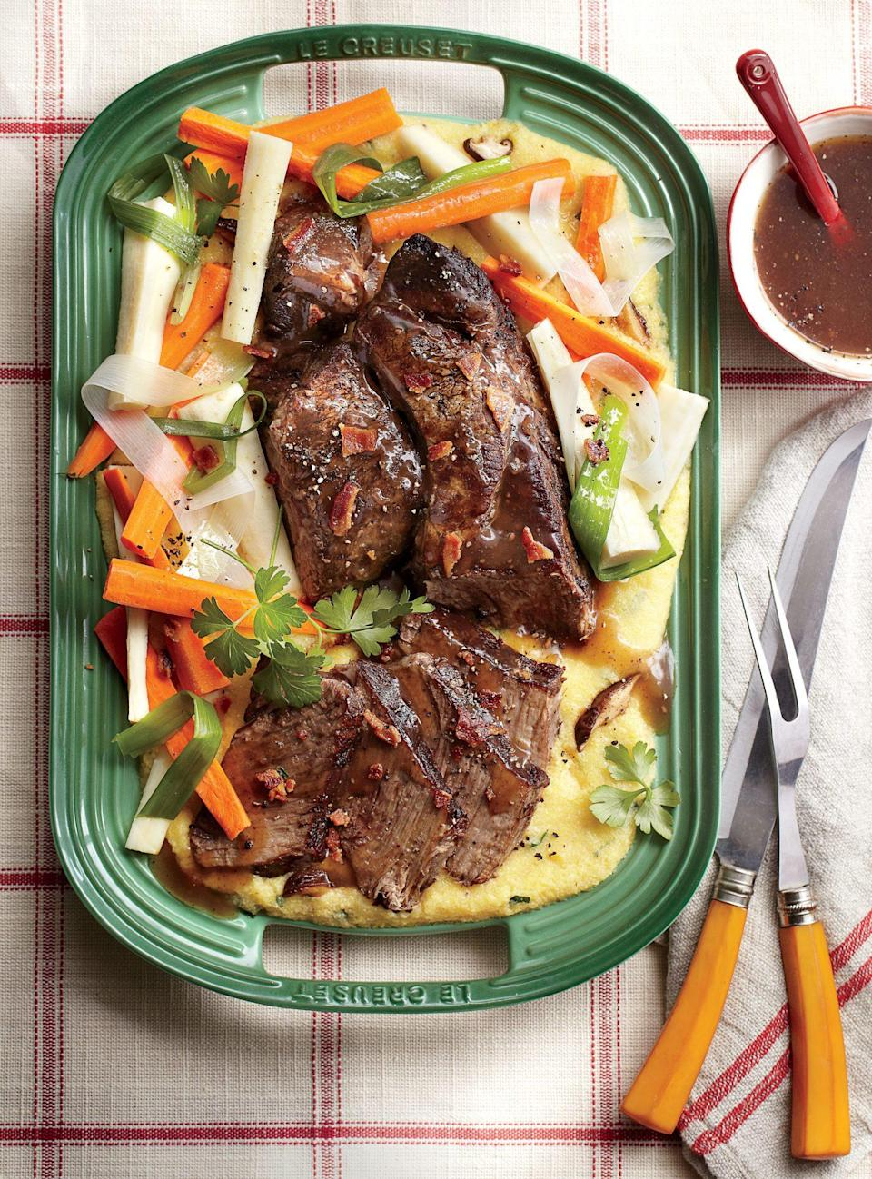 """<p><strong>Recipe: <a href=""""https://www.southernliving.com/syndication/company-pot-roast-0"""" rel=""""nofollow noopener"""" target=""""_blank"""" data-ylk=""""slk:Company Pot Roast"""" class=""""link rapid-noclick-resp"""">Company Pot Roast</a></strong></p> <p>Your slow cooker will help this company-worthy meal come together even on busy weeknights. </p>"""