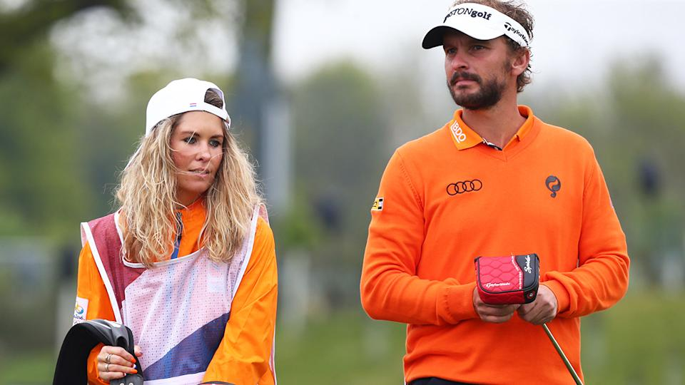Joost Luiten and his girlfriend at The Centurion Club in 2017. (Photo by Kieran Galvin/NurPhoto via Getty Images)