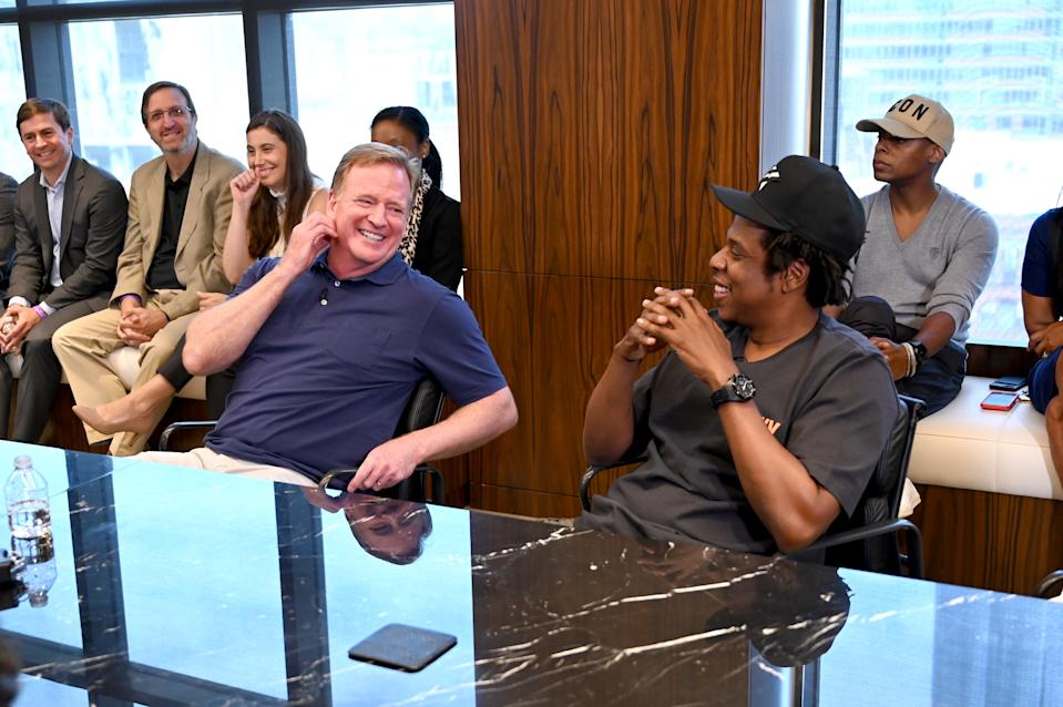 NFL Commissioner Roger Goodell and Jay Z at the Roc Nation and NFL Partnership Announcement at Roc Nation on August 14, 2019 in New York City