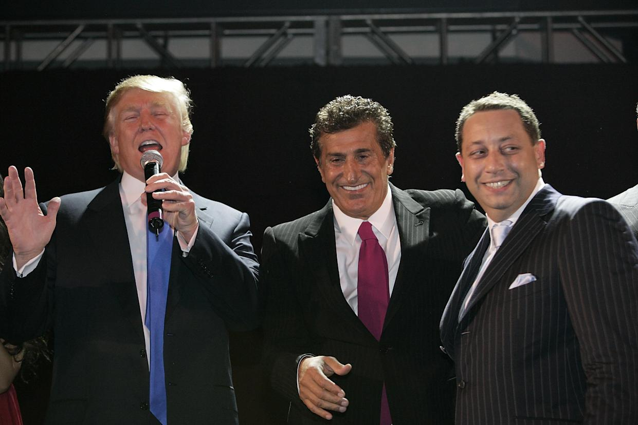 President Trump and real estate developers Tevfik Arif and Felix Sater attend the Trump Soho Launch Party on Sept. 19, 2007, in New York. (Photo: Mark Von Holden/WireImage)