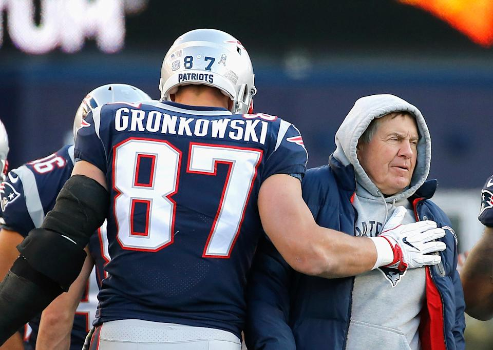 Rob Gronkowski reacts with Bill Belichick after catching a touchdown pass for the Patriots.