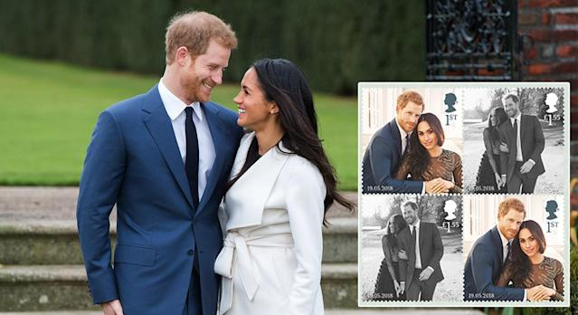 The Royal Mail has launched a set of commemorative stamps to mark Prince Harry and Meghan Markle's royal wedding. (Photo: Getty Images)