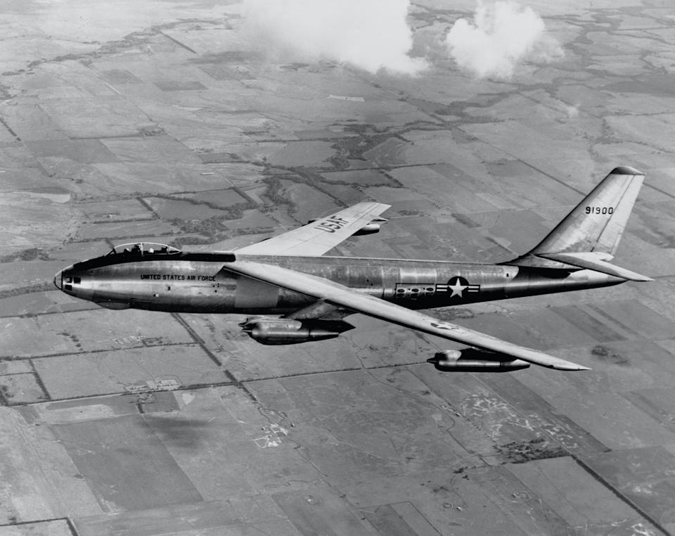 First official photos reveal production model of the B-47 Stratojet in a test flight near Wichita, Kansas, August 11, 1950. (Photo by Boeing Corporation/Library of Congress/Corbis/VCG via Getty Images)