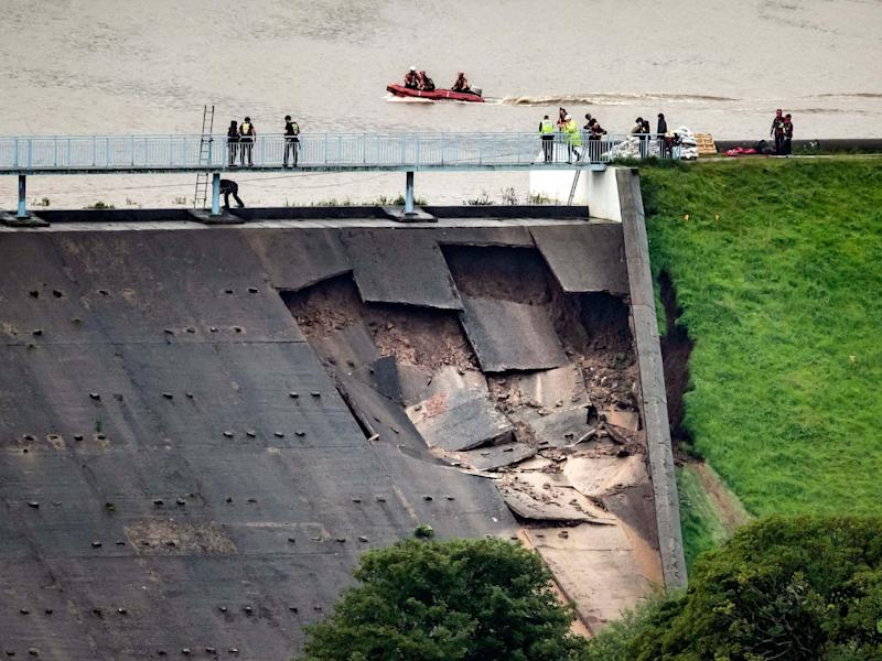Toddbrook Reservoir near the village of Whaley Bridge, Derbyshire, after it was damaged in heavy rainfall: PA