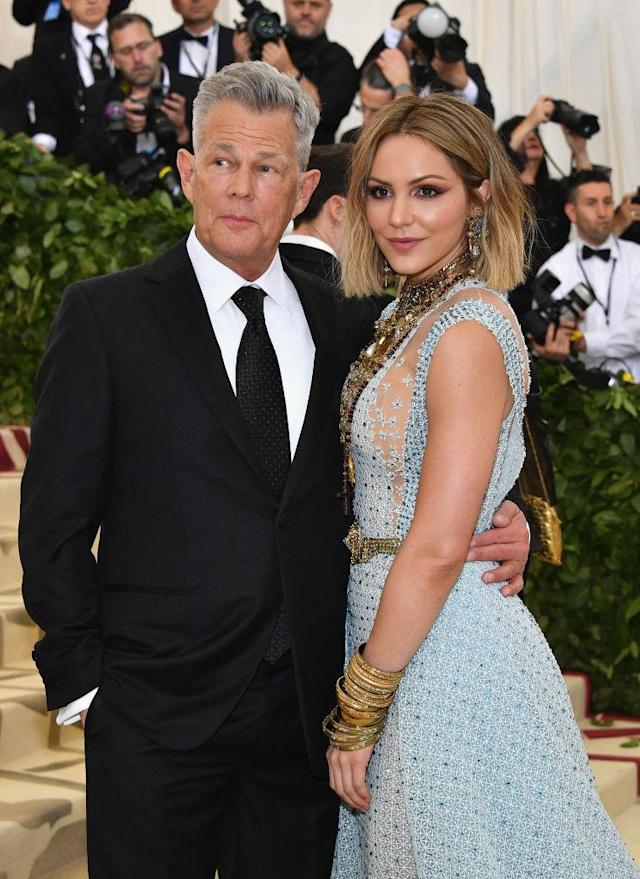 David Foster and Katharine McPhee walk the red carpet at the Met Gala on May 7. (Photo: Dia Dipasupil/WireImage)