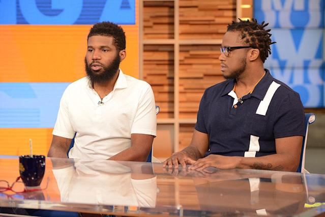 Rashon Nelson and Donte Robinson, the two men arrested at a Starbucks, tell their story on <em>Good Morning America</em> on April 19. (Photo: Lorenzo Bevilaqua/ABC via Getty Images)