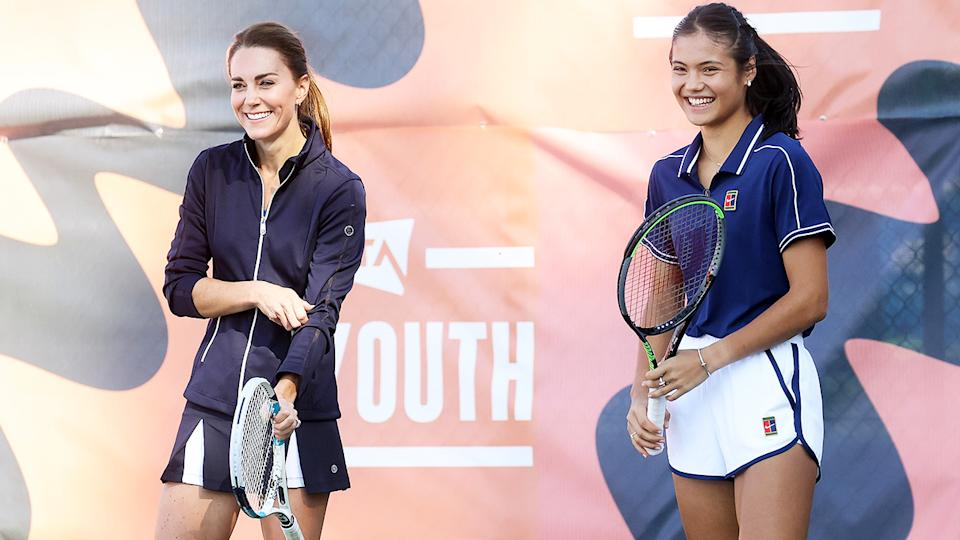 Catherine, Duchess of Cambridge, pictured here playing tennis with Emma Raducanu.