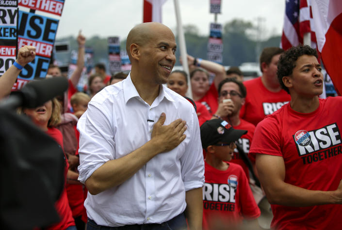 Presidential candidate Sen. Cory Booker, D-N.J., attends the Democratic Polk County Steak Fry in Des Moines, Iowa. (Photo: Joshua Lott/Getty Images)