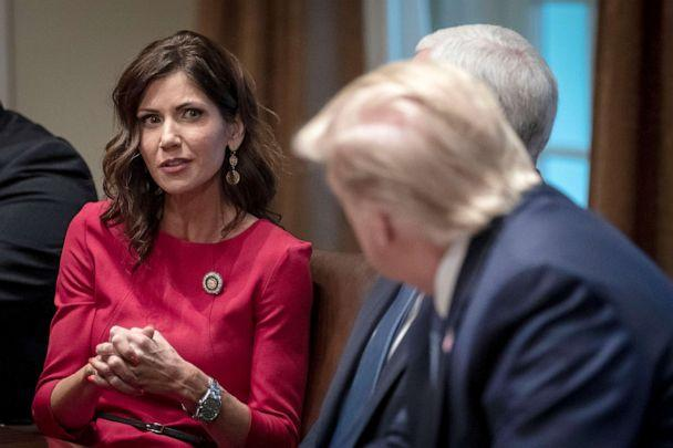 PHOTO: Governor of South Dakota Kristi Noem speaks to President Donald Trump during a meeting about the Governors Initiative on Regulatory Innovation at the White House on Dec. 16, 2019. (Drew Angerer/Getty Images, FILE)