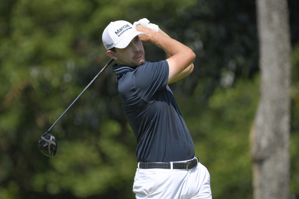 Patrick Cantlay tees off from the second hole during the second round of the BMW Championship golf tournament, Friday, Aug. 27, 2021, at Caves Valley Golf Club in Owings Mills, Md. (AP Photo/Nick Wass)