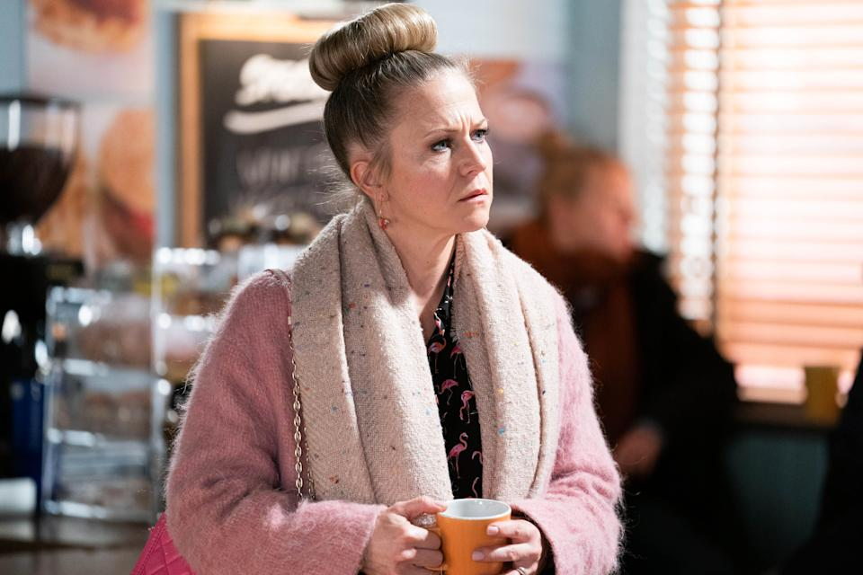 Linda Carter (KELLIE BRIGHT) in EastEnders. (BBC - Photographer: Jack Barnes)