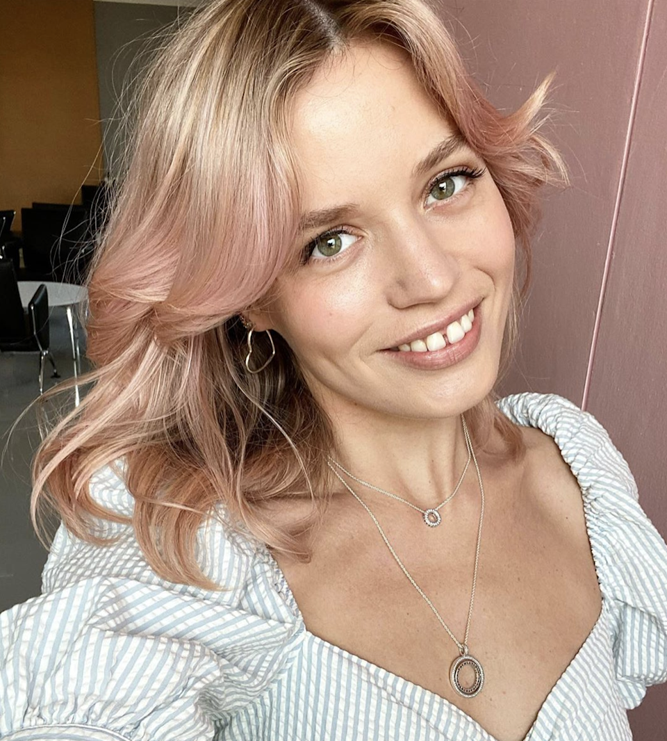"""Bored of blond but not quite ready to plunge into pink? A pale Champagne color is right in the middle and has almost an ethereal fairy-tale vibe. """"Blush tones can be added to light blond or used all over to give a twist to your signature look,"""" says <a href=""""https://www.instagram.com/colorbyrex/"""" rel=""""nofollow noopener"""" target=""""_blank"""" data-ylk=""""slk:Rex Jimieson"""" class=""""link rapid-noclick-resp"""">Rex Jimieson</a>, color educator and colorist at <a href=""""https://maxinesalon.com/"""" rel=""""nofollow noopener"""" target=""""_blank"""" data-ylk=""""slk:Maxine Salon"""" class=""""link rapid-noclick-resp"""">Maxine Salon</a>. """"It's both warm and cool, so it looks good on any skin tone, even without your summer tan."""""""