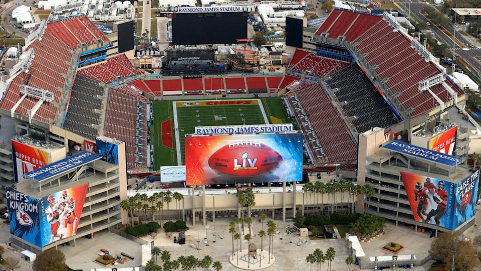 An aerial view of Raymond James Stadium ahead of Super Bowl LV on January 31, 2021 in Tampa, Florida. (Mike Ehrmann/Getty Images)
