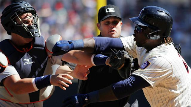 The Twins third baseman was ejected following an altercation with Tigers catcher James McCann during Saturday's game.