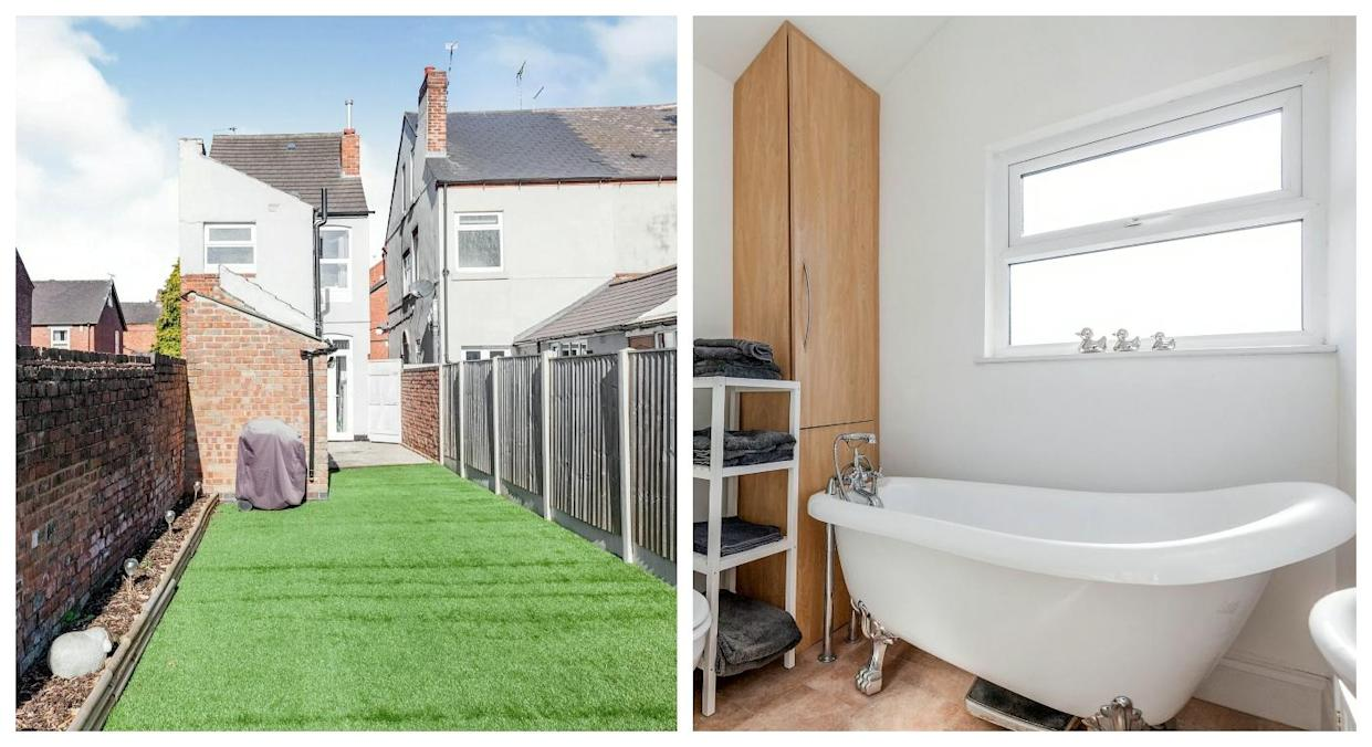 There's a small garden in the back and a roll top tub in the bathroom (SWNS)
