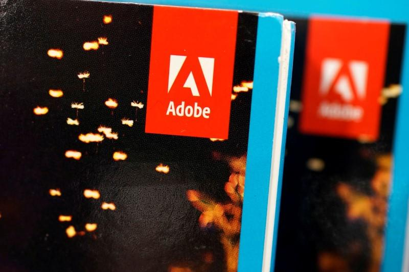 FILE PHOTO: An Adobe Systems Inc software box is seen in Los Angeles