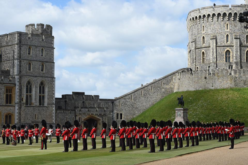 WINDSOR, ENGLAND - JUNE 12:  A general view as Queen Elizabeth II attends a military ceremony in the Quadrangle of Windsor Castle to mark her Official Birthday on June 12, 2020 at Windsor Castle on June 12, 2021 in Windsor, England. (Photo by Eddie Mulholland - WPA Pool/Getty Images)