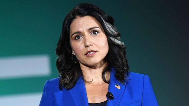PHOTO: Democratic presidential candidate, Rep. Tulsi Gabbard speaks during the 2020 Public Service Forum hosted by the American Federation of State, County and Municipal Employees (AFSCME) at UNLV on Aug. 3, 2019 in Las Vegas. (Ethan Miller/Getty Images, FILE)