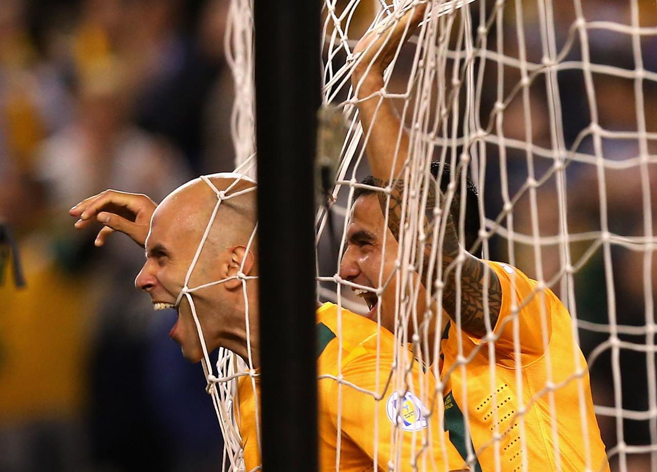 MELBOURNE, AUSTRALIA - JUNE 11:  Mark Bresciano of Australia celebrates scoring a goal during the FIFA World Cup Qualifier match between the Australian Socceroos and Jordan at Etihad Stadium on June 11, 2013 in Melbourne, Australia.  (Photo by Quinn Rooney/Getty Images)