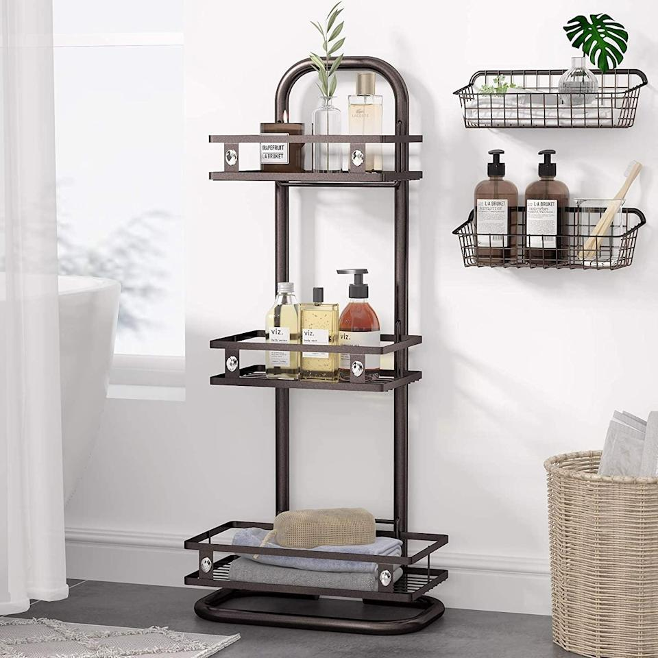 <p>This <span>1Easylife 3-Tier Corner Standing Shower Caddy</span> ($36) stores all your shower needs and their backups! From value-size shampoo and conditioner to extra towels, this organizer will make you feel like you're in a hotel. It even comes with two extra baskets!</p>