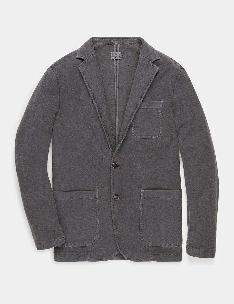 """<p><strong>FAHERTY</strong></p><p>fahertybrand.com</p><p><strong>$198.00</strong></p><p><a href=""""https://go.redirectingat.com?id=74968X1596630&url=https%3A%2F%2Ffahertybrand.com%2Fcollections%2Fmens-new-arrivals%2Fproducts%2Fsoft-flex-knit-blazer-graphite&sref=https%3A%2F%2Fwww.esquire.com%2Fstyle%2Fmens-fashion%2Fg34385982%2Ffall-wardrobe-essentials%2F"""" rel=""""nofollow noopener"""" target=""""_blank"""" data-ylk=""""slk:Shop Now"""" class=""""link rapid-noclick-resp"""">Shop Now</a></p><p>If there was an award for """"blazer for the year,"""" this would be the 2020 winner. This is a slim-fitting sport coat that's made from flex cotton and triple-washed to feel like a sweatshirt. Mind = blown. We're not sure if this should've existed before this year, but now, we couldn't be more thankful that it does. Zoom meeting, adjourned. </p>"""