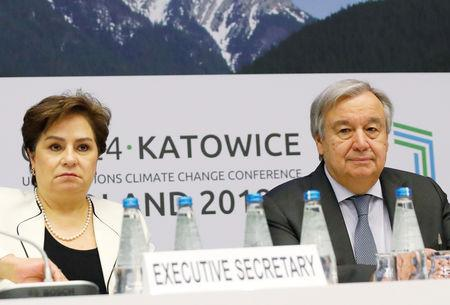 U.N. Secretary General Antonio Guterres and executive secretary of the U.N. Framework Convention on Climate Change Patricia Espinosa attend a meeting with representatives of various NGO organisations before the final session of the COP24 U.N. Climate Change Conference 2018 in Katowice, Poland, December 14, 2018. REUTERS/Kacper Pempel