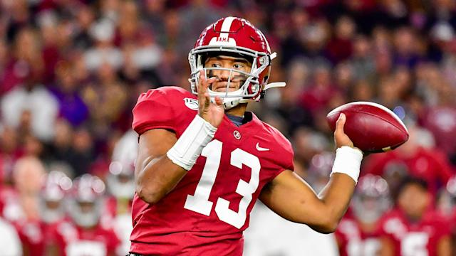 Alabama quarterback Tua Tagovailoa could see his draft stock rise. (AP Photo/Vasha Hunt)