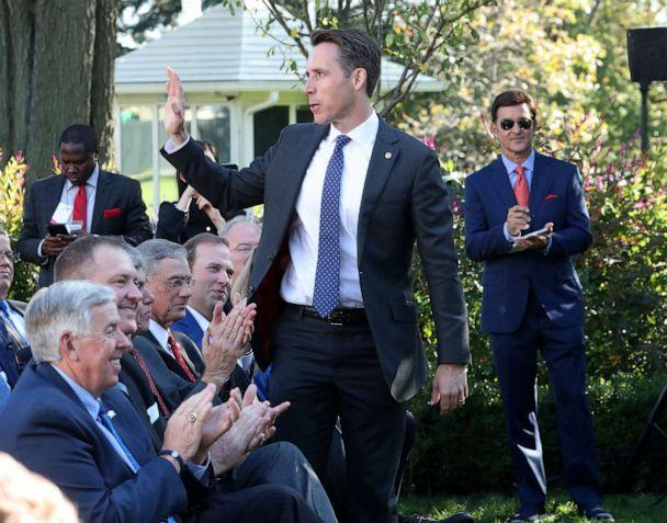 PHOTO: Sen. Josh Hawley is introduced during an event in the Rose Garden at the White House on Oct. 15, 2019, in Washington. (Mark Wilson/Getty Images, FILE)