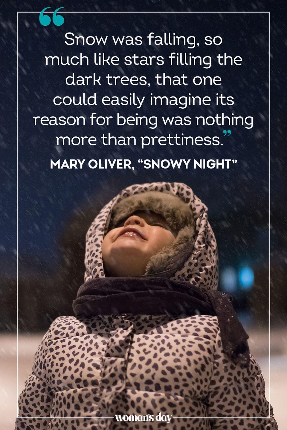 "<p>""<a href=""http://famouspoetsandpoems.com/poets/mary_oliver/poems/15859"" rel=""nofollow noopener"" target=""_blank"" data-ylk=""slk:Snow was falling"" class=""link rapid-noclick-resp"">Snow was falling</a>, so much like stars filling the dark trees, that one could easily imagine its reason for being was nothing more than prettiness."" — Mary Oliver, ""Snowy Night""</p>"
