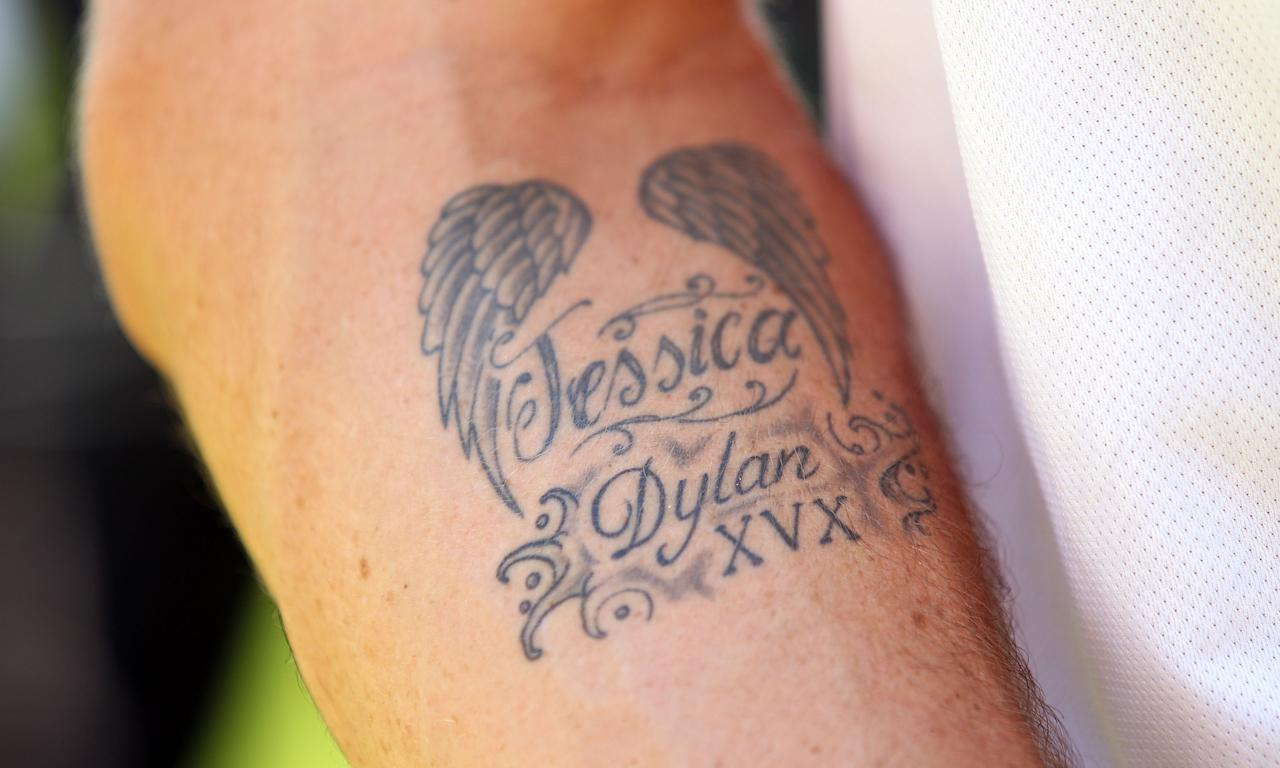 ADELAIDE, AUSTRALIA - DECEMBER 07:  A tattoo adorns the arm of Kevin Pietersen of England during  day five of the Second Ashes Test match between Australia and England at Adelaide Oval on December 7, 2010 in Adelaide, Australia.  (Photo by Scott Barbour/Getty Images)