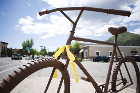 A ribbon of support of Army Sergeant Bowe Bergdahl is seen in Hailey, Idaho