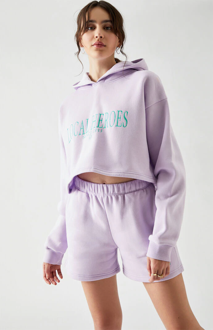 """<h2>PacSun</h2><br><br><strong>Local Heroes</strong> Lavender Embellished Sweat Shorts, $, available at <a href=""""https://go.skimresources.com/?id=30283X879131&url=https%3A%2F%2Fwww.pacsun.com%2Flocal-heroes%2Flavender-embellished-sweat-shorts-0821602930001.html"""" rel=""""nofollow noopener"""" target=""""_blank"""" data-ylk=""""slk:PacSun"""" class=""""link rapid-noclick-resp"""">PacSun</a><br><br><strong>Local Heroes</strong> Lavender Cropped Hoodie, $, available at <a href=""""https://go.skimresources.com/?id=30283X879131&url=https%3A%2F%2Fwww.pacsun.com%2Flocal-heroes%2Flavender-cropped-hoodie-0751602930004.html"""" rel=""""nofollow noopener"""" target=""""_blank"""" data-ylk=""""slk:PacSun"""" class=""""link rapid-noclick-resp"""">PacSun</a>"""