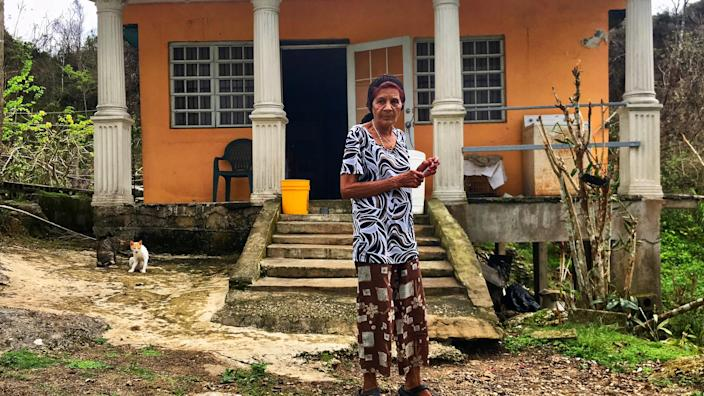 Everista Alicea Gonzalez lives alone in Hatillo, Puerto Rico. Weeks after the hurricane, she still lacked water, electricity and communication. She said she had not seen anyone from FEMA, the National Guard or any other relief effort. (Photo: Caitlin Dickson/Yahoo News)