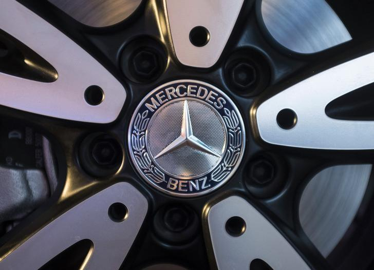 Logo of Mercedes-Benz is seen on the wheel of the new version of A-Class car during its launch in Mumbai