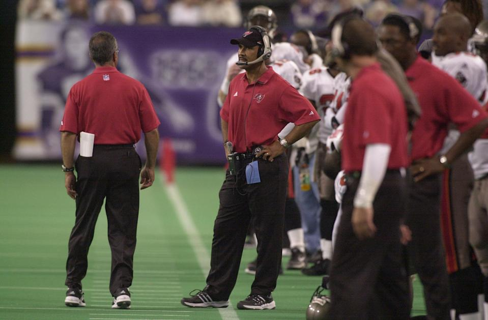 Dennis Hickey got his start in the NFL on a talented Tampa Bay Buccaneers staff that features head coach Tony Dungy (middle) and several future GMs and head coaches. (Getty Images)