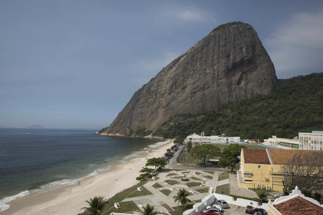 A view of the Brazilian Army Physical Training Center, where the England soccer squad will be training during the upcoming World Cup, in Rio de Janeiro, Brazil, Thursday, April 10, 2014. Sugar Loaf mountain is pictured in the background. (AP Photo/Felipe Dana)