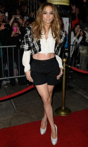 Jennifer Lopez: We love the fact that J.Lo is always up for taking fashion risks. This fun cropped shirt and high-waisted shorts are on trend for spring. The look shows off her enviably muscular legs and tight abs but the jacket's strong shoulders and the long-sleeved shirt give the look an edgy sophistication. Photo by: Jason LaVeris/FilmMagic