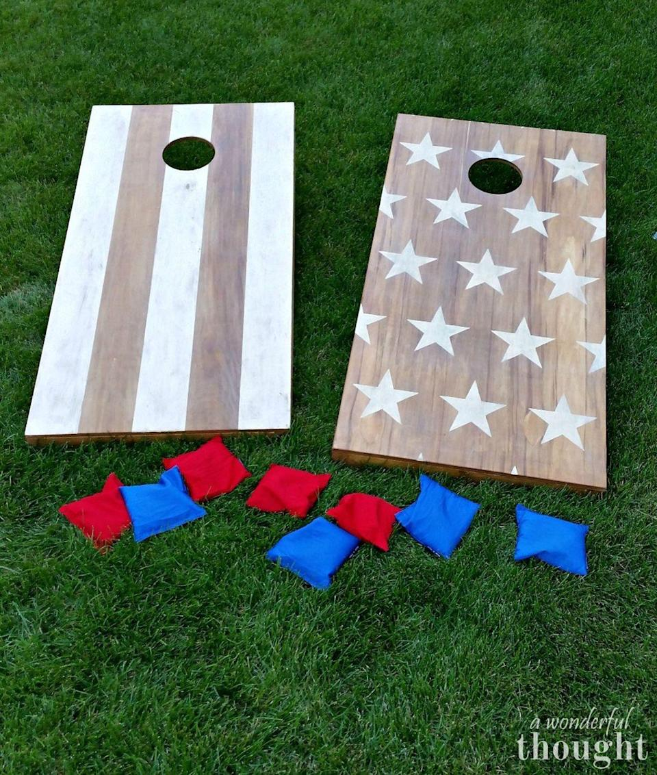 """<p>Fact: It's not a tailgate without cornhole. Customize boards with your team's colors to really show off your spirit.</p><p><strong>Get the tutorial at <a href=""""https://awonderfulthought.com/diy-cornhole-boards/"""" rel=""""nofollow noopener"""" target=""""_blank"""" data-ylk=""""slk:A Wonderful Thought"""" class=""""link rapid-noclick-resp"""">A Wonderful Thought</a>.</strong></p><p><a class=""""link rapid-noclick-resp"""" href=""""https://www.amazon.com/Nylon-Bean-Assorted-5x5in-Oojami/dp/B01I0KV0R8/?tag=syn-yahoo-20&ascsubtag=%5Bartid%7C10050.g.21095894%5Bsrc%7Cyahoo-us"""" rel=""""nofollow noopener"""" target=""""_blank"""" data-ylk=""""slk:SHOP BEAN BAGS""""><strong>SHOP BEAN BAGS</strong> </a></p>"""