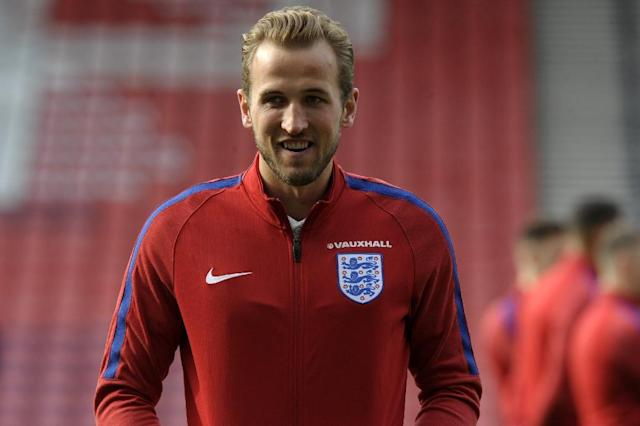 England's striker Harry Kane, pictured June 9, 2017, marked his first game as captain with a stoppage time equaliser and finalized the score at 2-2 against Scotland (AFP Photo/ANDY BUCHANAN)