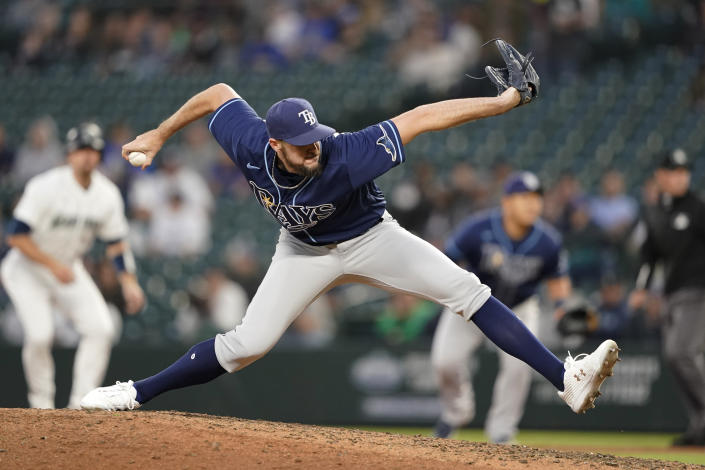 Tampa Bay Rays pitcher Ryan Thompson throws to a Seattle Mariners batter during the sixth inning of a baseball game Thursday, June 17, 2021, in Seattle. (AP Photo/Ted S. Warren)