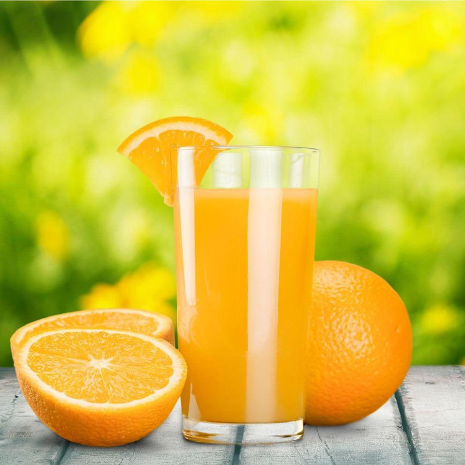 """<p>Even if the label says 100-percent juice or no-sugar-added, """"juice itself is a concentrated form of sugar,"""" says Zeitlin. In fact, one 8-oz glass of OJ adds up to a whopping <a href=""""https://ndb.nal.usda.gov/ndb/foods/show/45306106?max=25&sort=default&order=asc&qlookup=orange+juice"""" rel=""""nofollow noopener"""" target=""""_blank"""" data-ylk=""""slk:22 grams of sugar"""" class=""""link rapid-noclick-resp"""">22 grams of sugar</a>, versus <a href=""""https://ndb.nal.usda.gov/ndb/foods/show/09203?max=25&offset=25&sort=default&order=asc&qlookup=orange"""" rel=""""nofollow noopener"""" target=""""_blank"""" data-ylk=""""slk:13 grams"""" class=""""link rapid-noclick-resp"""">13 grams</a> in a single fruit. </p><p>""""When you juice your fruits and vegetables, you cut the healthy fiber that's so important for gut health and helps to control blood sugar and keep you feeling full,"""" adds Melton. Instead, make your own smoothie at home—or, even better, munch on a piece of fruit or a homemade salad. """"It's less expensive and a much healthier choice,"""" says Melton.</p>"""
