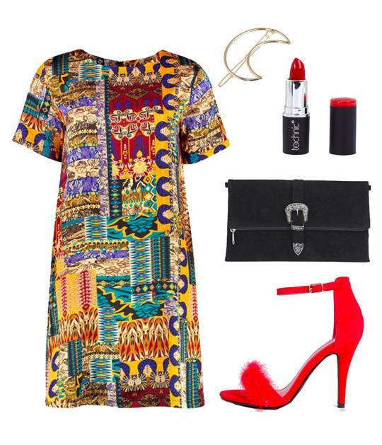 Look for a bright, vividly-patterned dress to add some excitement to your evening wardrobe. Pair it with a pair of bright red pumps and you're set to shimmy all night.