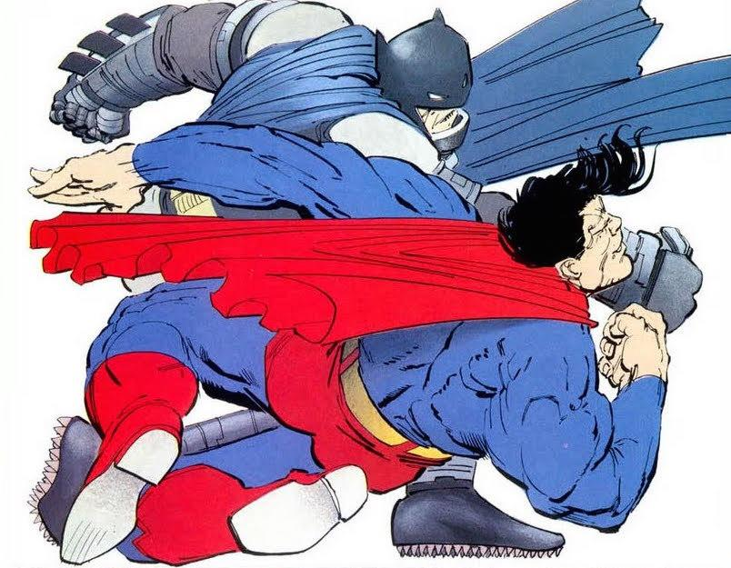 "<p>Zack Snyder has cited Frank Miller's iconic 1986 story <a href=""https://www.yahoo.com/movies/the-dark-knight-returns-at-30-frank-miller-on-151604704.html"">as a big influence on <i>Batman v Superman</i></a>, with the film borrowing the Bat-armor used by Bruce Wayne in his brutal battle with the Man of Steel. Here, Superman is depicted as a tool of the oppressive government, charged with bringing in the rogue vigilante. Batman uses his armor, missiles, a sonic gun, acid, and ultimately a kryptonite-tipped projectile launched by Green Arrow to temporarily take down Superman.</p>"