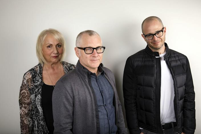 """Mimi Leder, Tom Perrotta, center, and Damon Lindelof, producers of the HBO series """"The Leftovers"""" in 2017"""